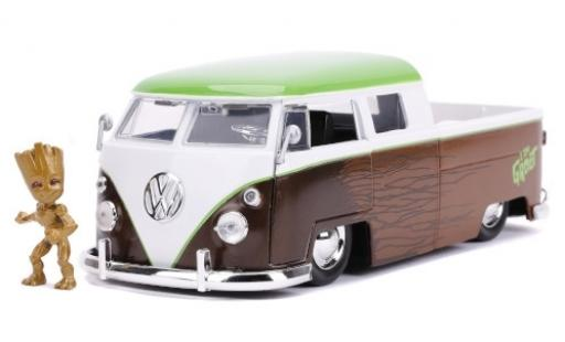 Volkswagen T1 1/24 Jada Pickup brown/white Guardians of the Galaxy - Groot 1963 mit Figur diecast model cars