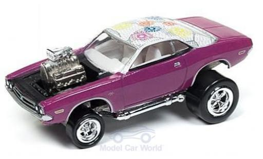 Dodge Challenger 1/64 Johnny Lightning metallise rose/Dekor 1971 Tuning ohne Vitrine miniature