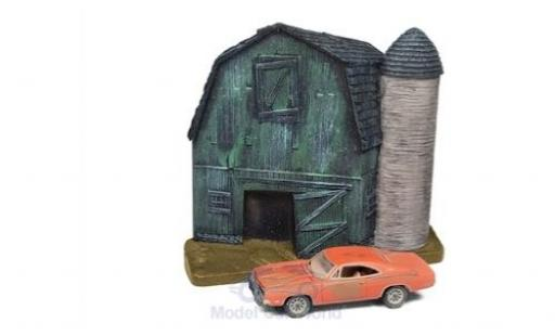 Dodge Charger 1/64 Johnny Lightning orange 1969 Barn Finds Series 4 Diorama mit Witterungsspuren miniature