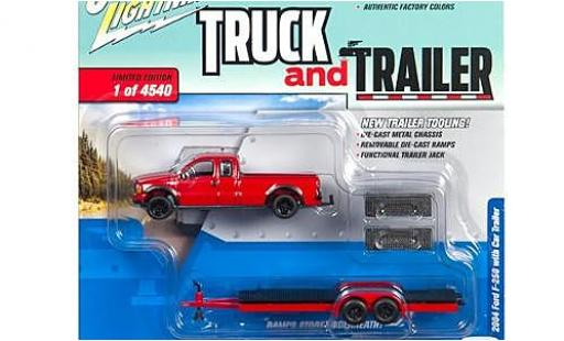 Ford F-250 1/64 Johnny Lightning rouge 2004 avec Flatbed remorque sans Vitrine miniature