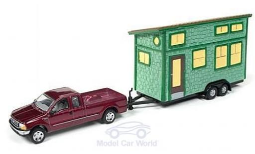 Ford F-250 1/64 Johnny Lightning Super Duty métallisé rouge 2004 mit Tiny House ohne Vitrine miniature