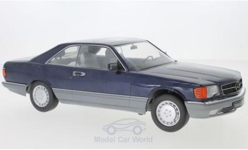 Mercedes 560 1/18 KK Scale SEC (C126) métallisé bleue miniature