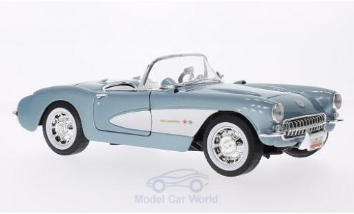 Chevrolet Corvette 1/18 Lucky Die Cast metallise bleue/blanche 1957 miniature