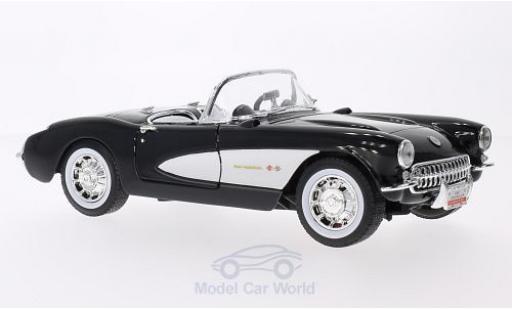 Chevrolet Corvette 1/18 Lucky Die Cast noire/blanche 1957 miniature