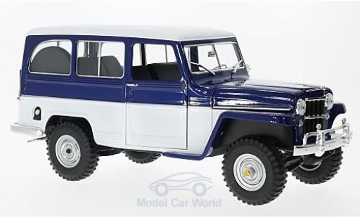 Jeep Willys 1/18 Lucky Die Cast Station Wagon bleue/blanche 1955 miniature