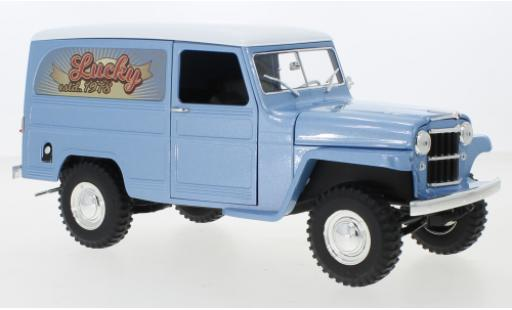 Jeep Willys 1/18 Lucky Die Cast Station Wagon Box Van metallise bleue/blanche Lucky 1955 miniature