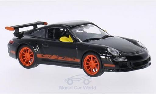 Porsche 997 GT3 RS 1/43 Lucky Die Cast 911  noire Spiegel in jaune Felgen und Dekor in orange miniature