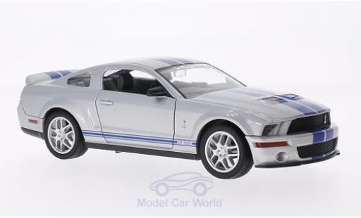 Shelby GT 500 1/18 Lucky Die Cast mit bleueen Streifen grise 2007 miniature
