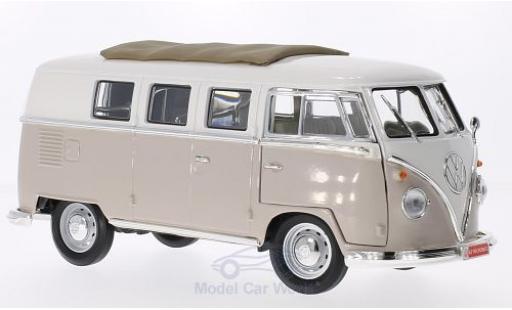 Volkswagen T1 B 1/18 Lucky Die Cast Microbus mit Faltdach beige/blanche 1962 miniature
