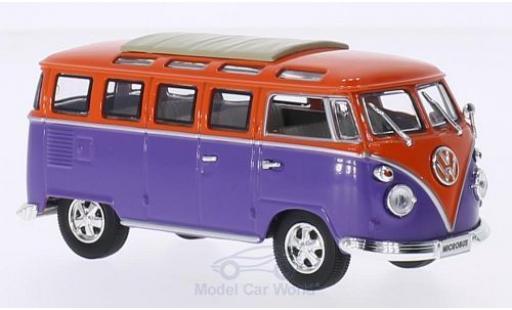 Volkswagen T1 B 1/43 Lucky Die Cast Samba lila/orange 1962 Faltdach geschlossen mit Chromstoßstangen und -felgen modellautos