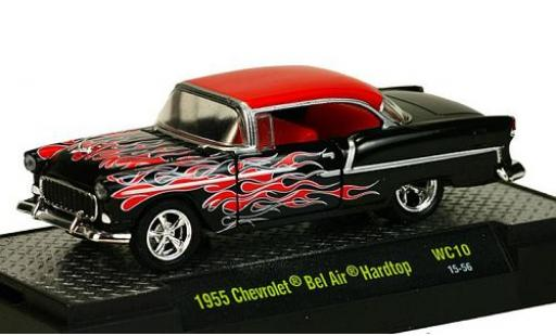 Chevrolet Bel Air 1/64 M2 Machines Hardtop Tuning noire/rouge 1955 miniature