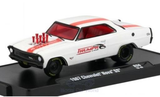 Chevrolet Nova 1/64 M2 Machines SS matt-white/red 1967 diecast model cars
