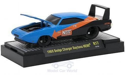 Dodge Charger 1/64 M2 Machines Daytona HEMI bleue/noire Nos 1969 miniature