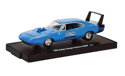 Dodge Charger 1/64 M2 Machines Daytona HEMI metallise bleue B & M 1969 voiture Drivers miniature