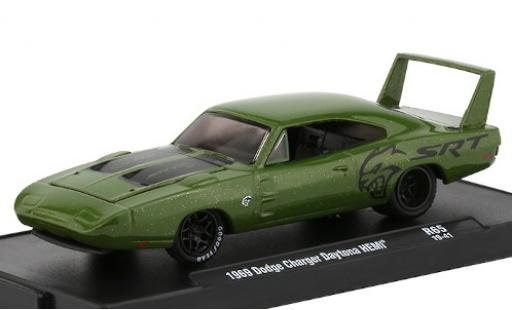 Dodge Charger 1/64 M2 Machines Daytona HEMI metallise verte/matt-noire SRT 1969 miniature