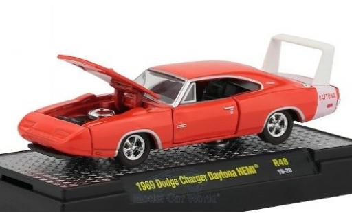 Dodge Charger 1/64 M2 Machines Daytona HEMI orange/blanche 1969 miniature