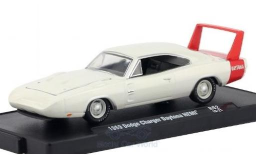 Dodge Charger 1/64 M2 Machines Daytona HEMI blanche/rouge 1969 miniature