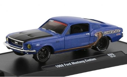 Ford Mustang 1/64 M2 Machines Custom metallise bleue/matt-noire Perfomance 1968 miniature