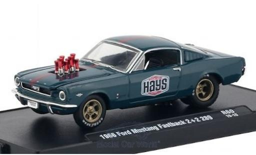 Ford Mustang 1/64 M2 Machines Fastback 2+2 289 bleue/matt-rouge Hays 1966 miniature