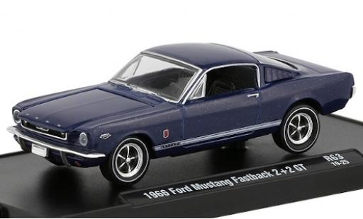 Ford Mustang 1/64 M2 Machines Fastback 2+2 GT metallic blue 1966 diecast
