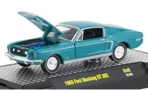 Ford Mustang 1/64 M2 Machines GT 302 turquoise/noire 1968 miniature