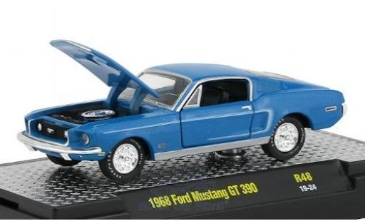 Ford Mustang 1/64 M2 Machines GT 390 bleue/blanche 1968 miniature