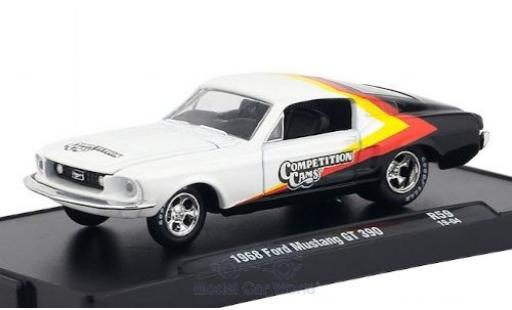 Ford Mustang 1/64 M2 Machines GT 390 blanche/Dekor Competition Cams 1968 miniature