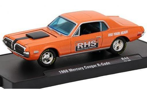 Mercury Cougar 1/64 M2 Machines R-Code metallise orange Racing Head Service (RHS) 1968 voiture-Drivers Release 44 sans Vitrine miniature