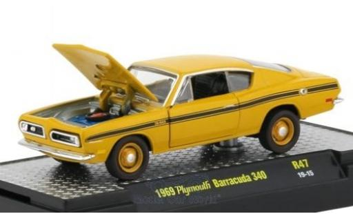 Plymouth Barracuda 1/64 M2 Machines 340 jaune/Dekor 1969 miniature