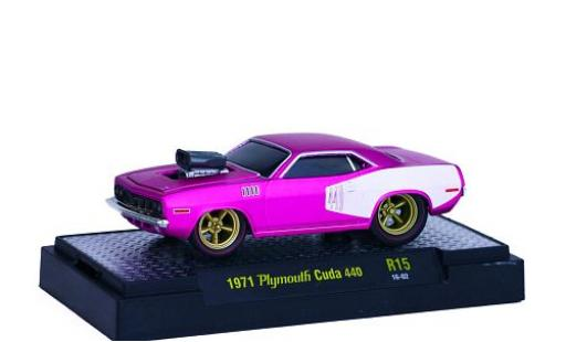 Plymouth Cuda 1/64 M2 Machines 440 matt-rose/matt-blanche 1971 Ground Pounders miniature