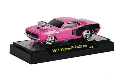 Plymouth Cuda 1/64 M2 Machines 440 Tuning lila/noire 1971 Ground Pounders miniature