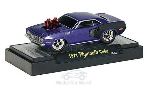 Plymouth Cuda 1971 1/64 M2 Machines 440 Tuning metallic-lila 1971 miniature
