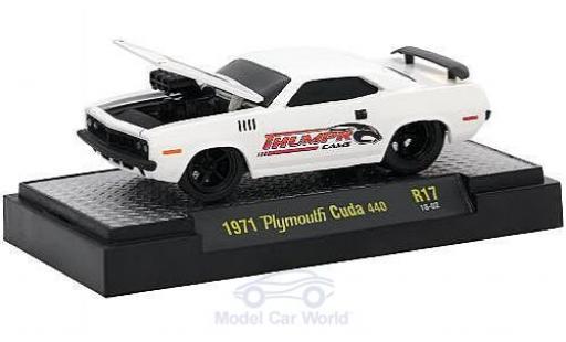 Plymouth Cuda 1971 1/64 M2 Machines 440 blanche Thumpr Cams 1971 miniature