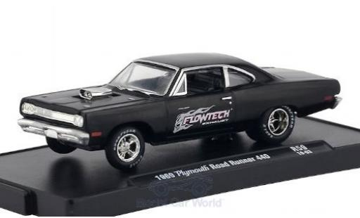 Plymouth Road Runner 1/64 M2 Machines 440 noire/Dekor Flowtech Exhaust 1969 miniature