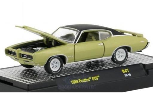 Pontiac GTO 1/64 M2 Machines métallisé verte/matt-noire 1969 miniature