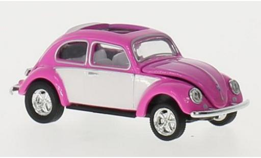 Volkswagen Beetle 1/64 M2 Machines Deluxe rose/blanche U.S.A.Model 1953 ouvert toit miniature