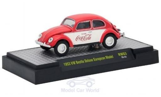 Volkswagen Beetle 1/64 M2 Machines Deluxe European Model rouge/blanche Coca Cola 1953 miniature