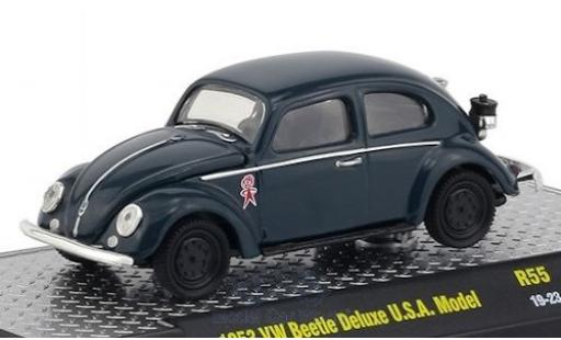 Volkswagen Beetle 1/64 M2 Machines Deluxe (Käfer) bleue/Dekor 1953 USA-Modell miniature
