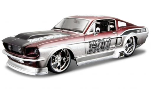Ford Mustang 1/24 Maisto GT gris/metallise rojo Harley-Davidson 1967 coche miniatura