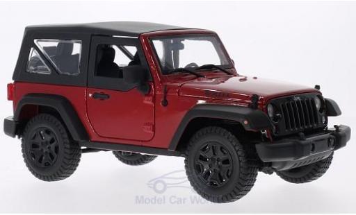 Jeep Wrangler 1/18 Maisto rouge/noire 2014 mit SoftTop miniature