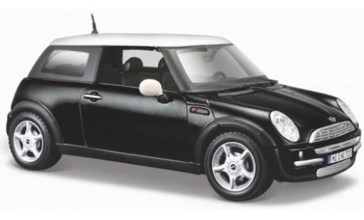 Mini Cooper 1/24 Maisto matt-noire/blanche miniature