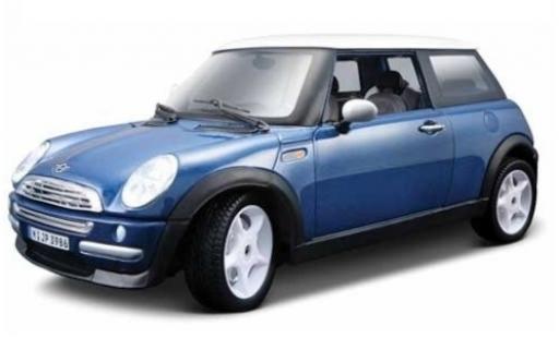 Mini Cooper 1/24 Maisto metallise bleue/blanche miniature