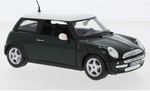 Mini Cooper 1/24 Maisto metallise verte/blanche miniature