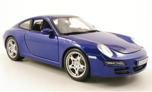 Porsche 997 S 1/18 Maisto 911  Carrera metallise bleue miniature