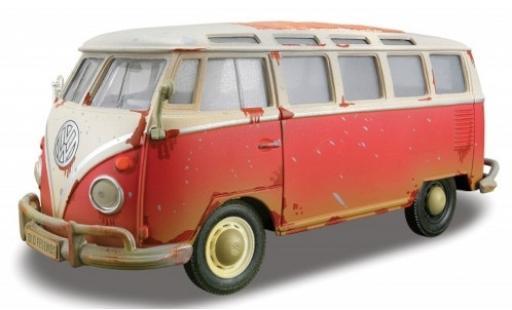 Volkswagen T1 1/24 Maisto Samba rouge/blanche 1960 USA-Version avec traces de vieilissement miniature