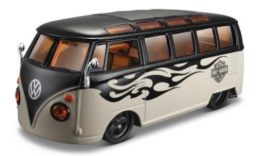 Volkswagen T1 1/24 Maisto Samba noire/beige Harley Davidson l'éce 1:25 miniature