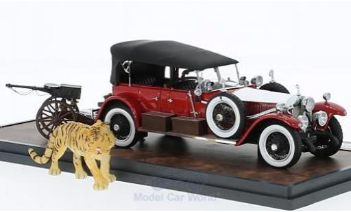 Rolls Royce Phantom 1/43 Matrix Barker Torpedo Tourer rouge/grise 1925 HRH Maharaja of Kota #23RC mit Tiger miniature