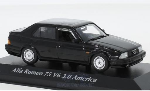Alfa Romeo 75 1/43 Maxichamps V6 3.0 America negro 1987 miniatura