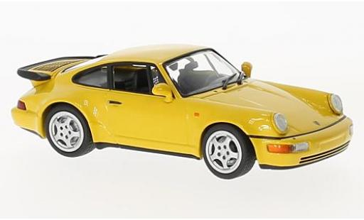 Porsche 964 Turbo 1/43 Maxichamps 911  jaune 1990 miniature