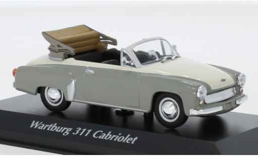 Wartburg 311 1/43 Maxichamps Cabriolet grise/blanche 1958 miniature
